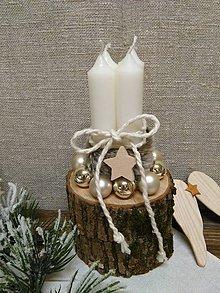 Dekorácie - drevený vianočný svietnik - 10164689_