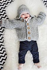 Detské oblečenie - Mini SeT... svetrík & ušianka... v šedej... uni... 6-12 m - 10173255_