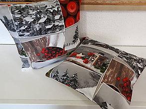 Úžitkový textil - Vianočné obliečky na vankuše  (Zasnežená krajinka) - 10173876_