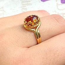 Prstene - Amber & Golden Filigree Ring / Filigránový prsteň s pravým jantárom /1240 - 10170859_