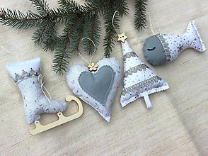 Dekorácie - Sada vianočných ozdôb ♥ Strieborná - 10170947_