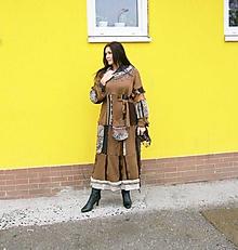 Šaty - LEL svetro šaty cappuccino čokoláda - 10170753_
