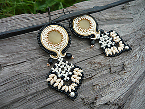Náušnice - Soutache náušnice Midnight Lady - 10173575_