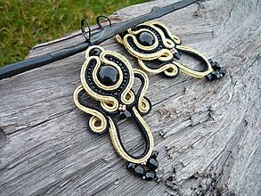 Náušnice - Soutache náušnice Luxury Black&Gold - 10173590_
