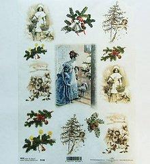 Papier - Ryžový papier na decoupage -A4-R198-Vianoce, retro, imelo - 10169168_