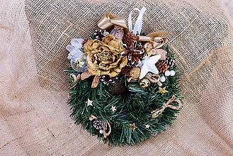 Dekorácie - Vianočný veniec - svietnik zlatý kvet - 10172238_