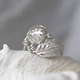 Prstene - Strieborný anjelský prsteň s krištáľom - S Tebou - 10170043_