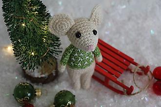 Hračky - Vianočná myš (Biela) - 10171644_