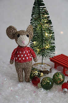 Hračky - Vianočná myš (Hnedá) - 10171659_