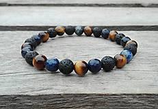 Šperky - Náramok - tigrie oko, lapis lazuli a láva - 10171464_