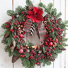 Dekorácie - Vianočný veniec na dvere prírodný ...