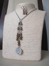 Sady šperkov - Minerálne korálky epidot - sada šperkov - chir. oceľ - STROM - 10172675_