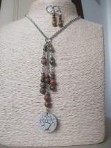 Sady šperkov - Minerálne korálky epidot - sada šperkov - chir. oceľ - STROM - 10172684_