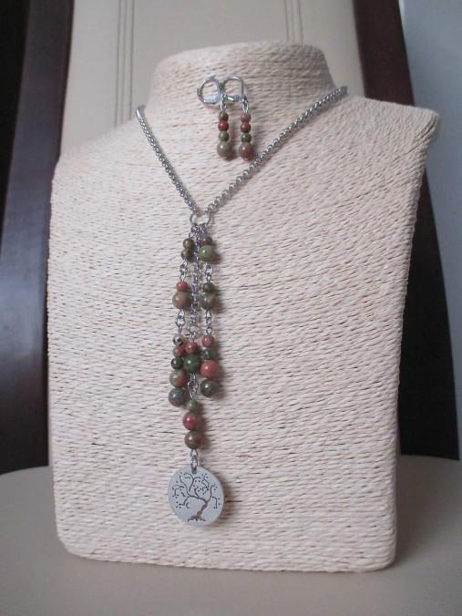Minerálne korálky epidot - sada šperkov - chir. oceľ - STROM