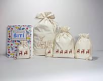 Úžitkový textil - Vianočné bavlnené darčekové vrecúško vyšívané veľké - 10171474_