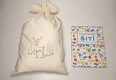 Úžitkový textil - Vianočné bavlnené darčekové vrecúško vyšívané veľké - 10171475_