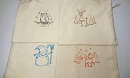 Úžitkový textil - Vianočné bavlnené darčekové vrecúško vyšívané veľké - 10171476_
