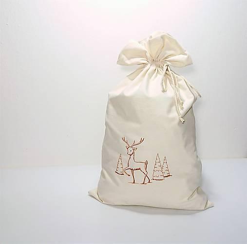 Vianočné bavlnené darčekové vrecúško vyšívané veľké