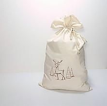 Úžitkový textil - Vianočné bavlnené darčekové vrecúško vyšívané veľké - 10171469_