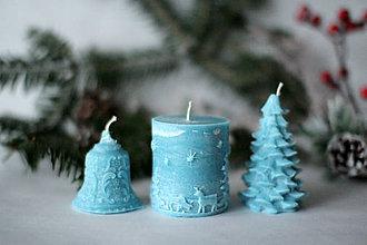 Svietidlá a sviečky - Sada vianočných sviec * s vôňou * (Tyrkysová) - 10169216_