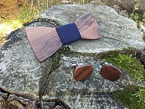 Doplnky - Pánsky drevený motýlik a manžetové gombíky - 10169783_