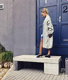 Kabáty - Pletený kabát sivý - 10169802  0e2b6110a2a
