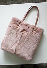 Veľké tašky - Koženo-kožušinová SHOPPER kabelka-PUDROVO-RUŽOVÁ - 10169533_
