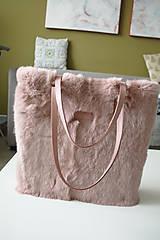 Veľké tašky - Koženo-kožušinová SHOPPER kabelka-PUDROVO-RUŽOVÁ - 10169534_