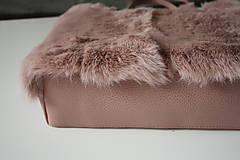 Veľké tašky - Koženo-kožušinová SHOPPER kabelka-PUDROVO-RUŽOVÁ - 10169535_