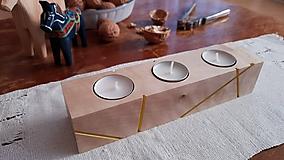Svietidlá a sviečky - Brezový svietnik LINJE natur/farebný - 10170791_