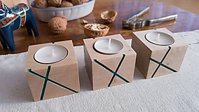 Svietidlá a sviečky - Sada svietnikov LINJE breza 3ks natur/farebná - 10170865_