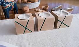 Svietidlá a sviečky - Sada svietnikov LINJE breza 3ks natur/farebná (Tyrkys) - 10170875_