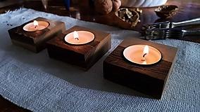 Svietidlá a sviečky - Orechové svietniky - sada 3 ks - 10171578_