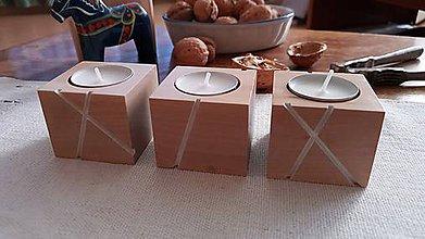 Svietidlá a sviečky - Sada svietnikov LINJE breza 3ks natur/farebná (Biela) - 10170834_