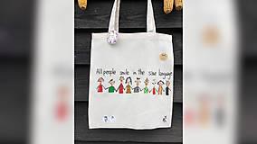 Iné tašky - ♥ Plátená, ručne maľovaná taška ♥ - 10169491_