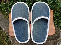 Obuv - Riflové papuče s bielym lemom  - 10172457_