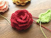 Materiál ručne robený - 3D Ruža (aplikácia) / Set ruža + lístky - 10169842_