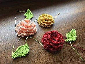 Materiál ručne robený - 3D Ruža (aplikácia) / Set ruža + lístky - 10169838_