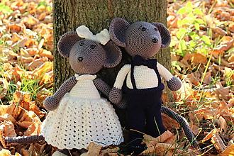 Hračky - Háčkované myšky mladomanželia - 10169379_