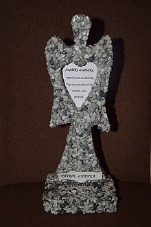Dekorácie - Kamienkový anjel s menom (Šedá) - 10173826_