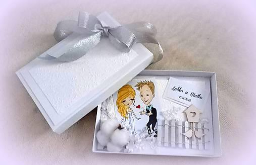 Svadobná pohľadnica v krabičke