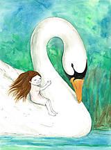 Obrázky - Dievčatko s labuťou, obrázok do izbičky - 10172963_