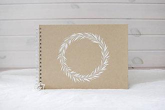 Papiernictvo - Svadobná kniha hostí biely venček - 10172273_