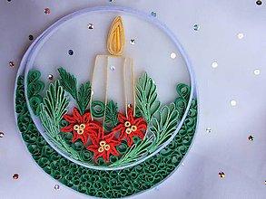 Dekorácie - Vianočná farebná dekorácia so sviečkou - 10173445_