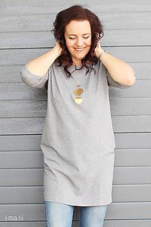 Šaty - Dámske šaty s vreckami sivé z úpletu M15 IO18 - 10173698_