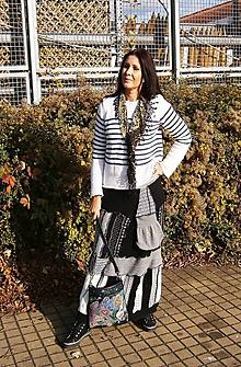 Sukne - lel etno maxi sukňa patchwork bielo čierna - 10177011_