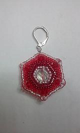 Náušnice - červený 6hran kombi - 10177136_