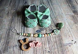 Topánočky - darčekový set pre dieťatko (Tyrkysová) - 10174152_