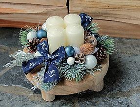 Dekorácie - adventný veniec_ teakové drevo s modrotlačou - 10176843_