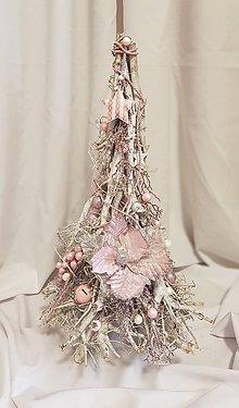 """Dekorácie - drevený vianočný stromček """"ružový"""" 60 cm - 10175963_"""